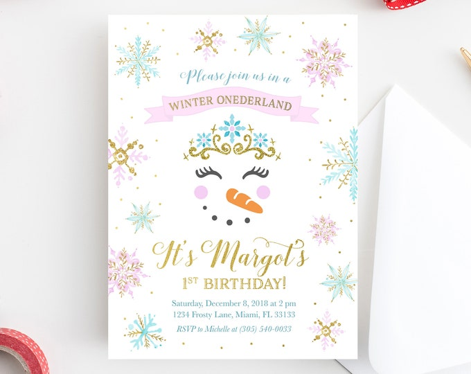 Winter ONEderland Invitation, Snowman Invitation, Winter Birthday Invitation, Winter Wonderland Invitation, Snowflake Birthday Invite