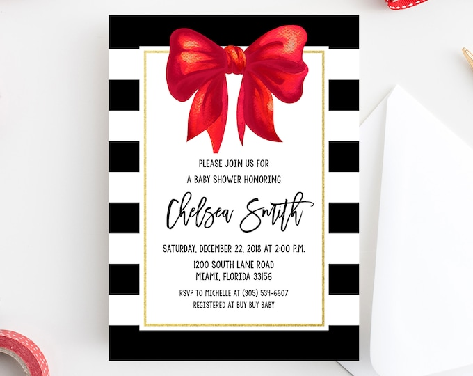 Christmas Baby Shower Invitation, Red Bow Baby Shower Invitation, Black and White Baby Shower, Red Bow Invite, Christmas Bow Invitation