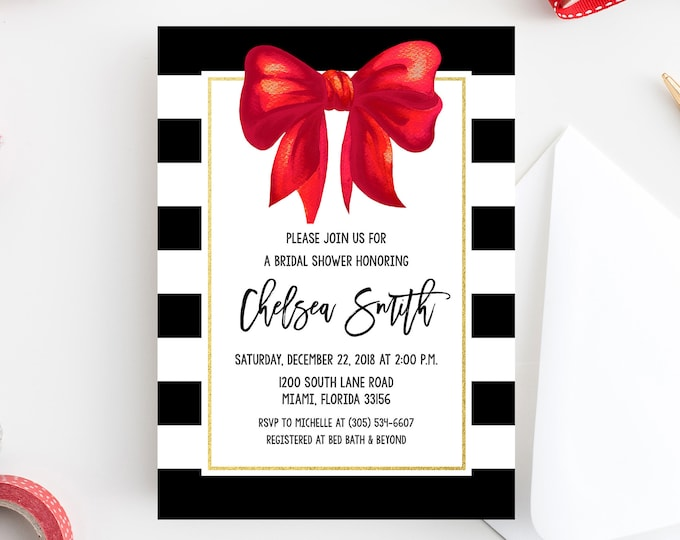 Christmas Bridal Shower Invitation, Black and White Stripe Bridal Shower Invitation, White and Gold Bridal Shower, Red Bow Invite