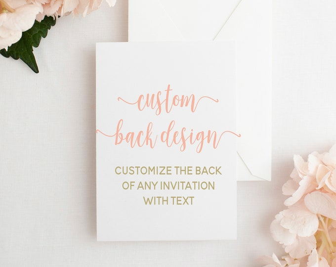 Customize Your Invitation Back, Add Text to Invitation Back, Change Back