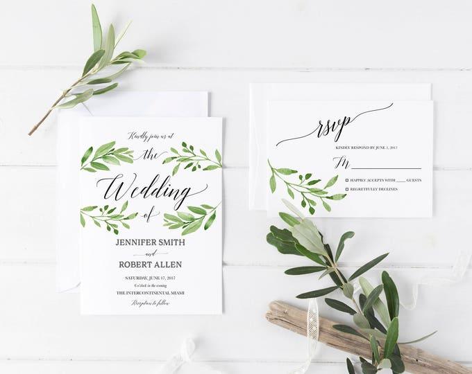 Leaf Wedding Invitation, Green Wedding Invitation, Leaf Invitation, Rustic Wedding Invitation, Boho Wedding Invitation, Printable Invite