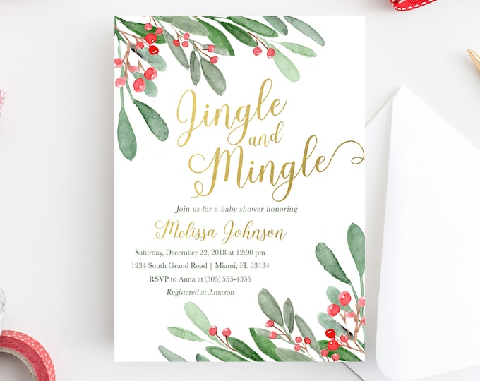 Christmas Baby Shower Invitation, Holly Baby Shower Invitation, Winter Baby Shower, Jingle and Mingle Baby Shower Invite, Holly Invitation
