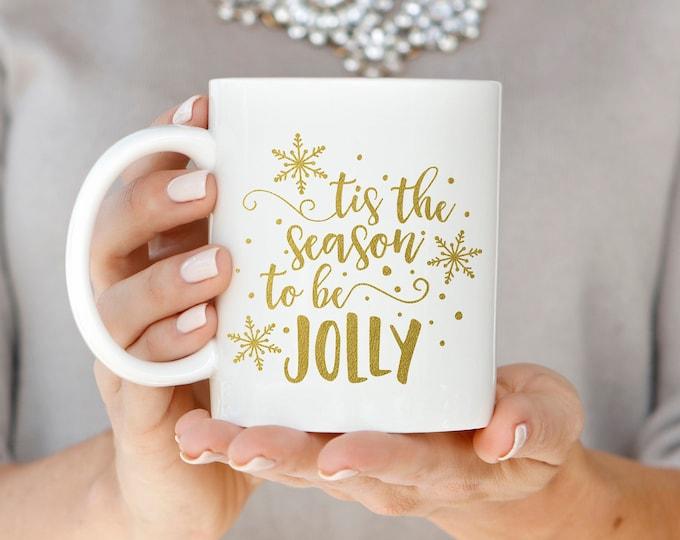Jolly Gold Christmas Mug, Christmas Gift, Gold Foil Holiday Mug, Hand Lettered Mug, Tis the Season to Be Jolly Mug, Christmas Coffee Mug