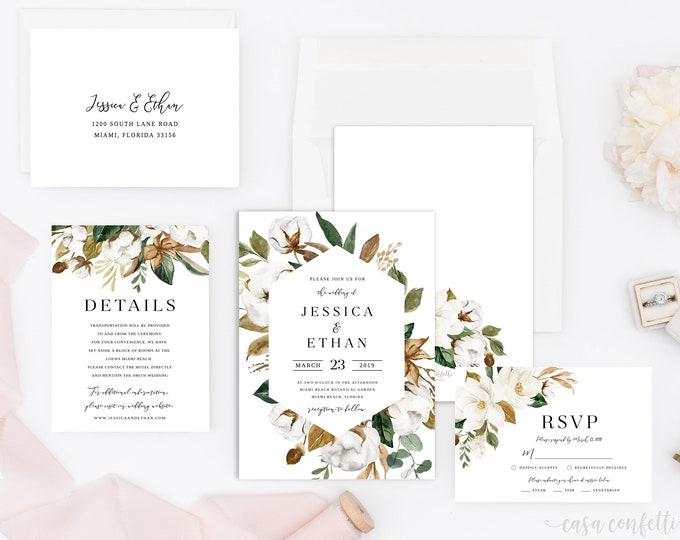 Magnolia Wedding Invitation Suite, Southern Wedding Invitation, White Floral Wedding Invite, Greenery Geometric Wedding, Cotton