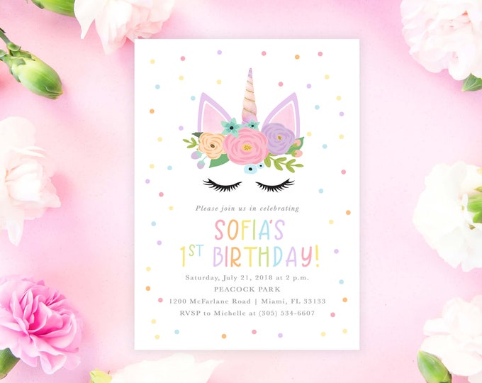 Unicorn Birthday Invitation, Rainbow Unicorn Invitation, Unicorn Face Invitation, Girl 1st First Birthday Party Invitation, Pastel Floral