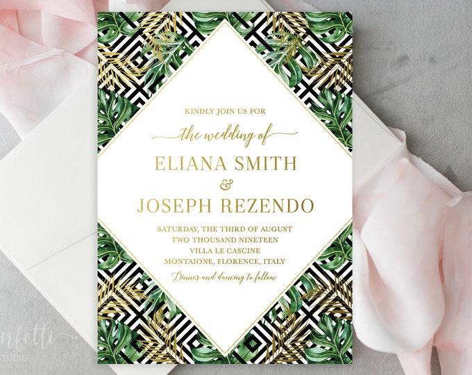 Monsterra Leaf Wedding Invitation, Tropical Wedding Invitation, Art Deco Wedding Invitation, Destination Wedding Invitation, Printable