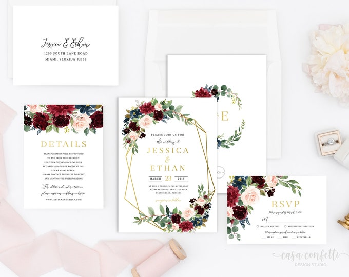 Burgundy and Navy Wedding Invitation Suite, Burgundy Geometric Wedding Invitation, Floral Wedding Invitation, Navy and Gold