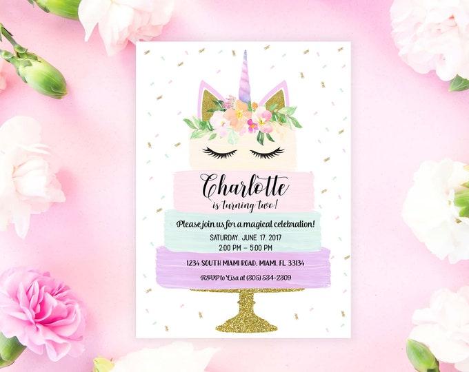 Unicorn Cake Invitation, Unicorn Birthday Invitation, Unicorn Cake Invite, Unicorn Invitation, Girl 1st First Birthday Invitation, Printable