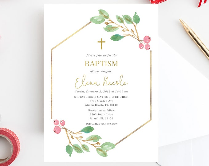 Christmas Baptism Invitation, Girls Baptism Christening Invite, Boys Baptism Invitaion, First Communion, Holly Baptism Invitation