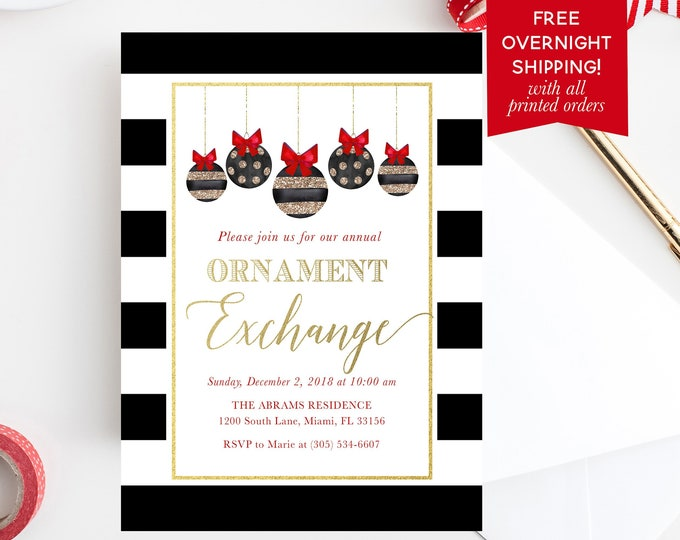 Ornament Exchange Party Invitation, Ornament Exchange Invitation, Black and White Holiday Party Invitation, Christmas Party Invitation