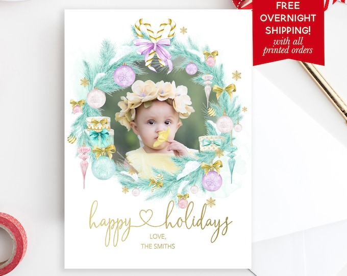 Pastel Christmas Wreath Holiday Photo Card, Feminine Girly Christmas Photo Card, Watercolor Holiday Card, Picture Christmas Card