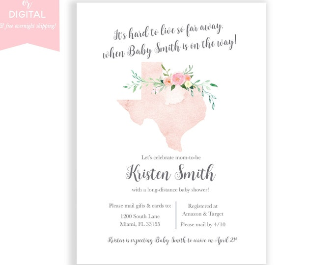 Long-Distance Baby Shower Invitation Texas, Travel Theme Invite, Long Distance, Shower By Mail, Map Baby Shower Invite, State Baby Shower