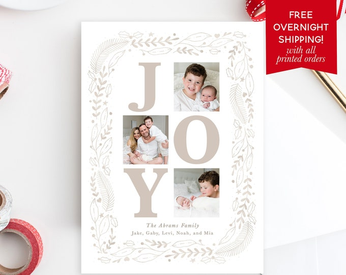 Joy Christmas Photo Card, Floral Christmas Photo Card, Minimalist Christmas Card, Holiday Photo Card, Christmas Picture Card