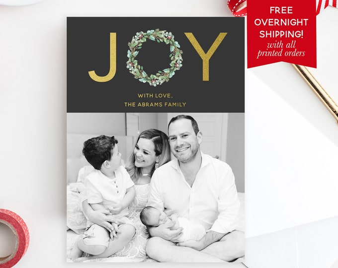 Joy Wreath Christmas Photo Card, Floral Christmas Photo Card, Holly Christmas Card, Wreath Christmas Picture Card, Holiday Photo Card