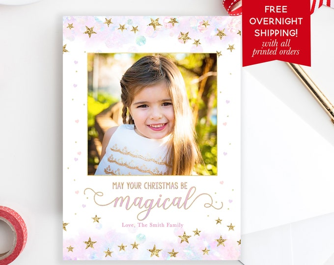 Pastel Magical Christmas Photo Card, Unicorn Pink and Gold Holiday Photo Card, Girly Christmas Photo Card, Pink Watercolor