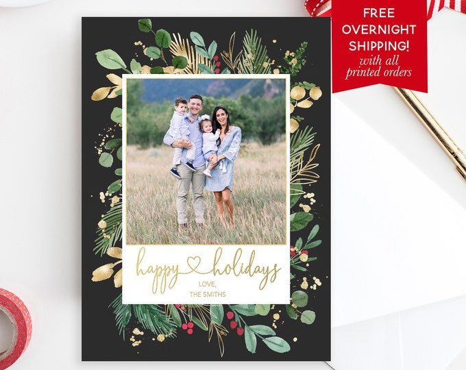Greenery Christmas Photo Card, Leaves Christmas Photo Card, Happy Holidays Card, Green and Gold Picture Card