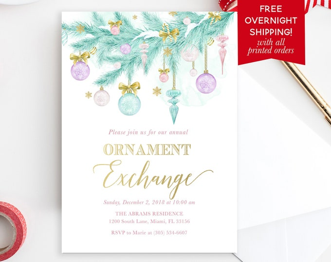 Ornament Exchange Party Invitation, Pastel Christmas Invitation, Girls Christmas Party, Pink Christmas Invitation, Christmas Ornament