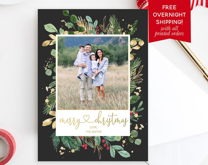 Leaves Merry Christmas Photo Card, Greenery Christmas Photo Card, Merry Christmas Holiday Card, Green and Gold Picture Card