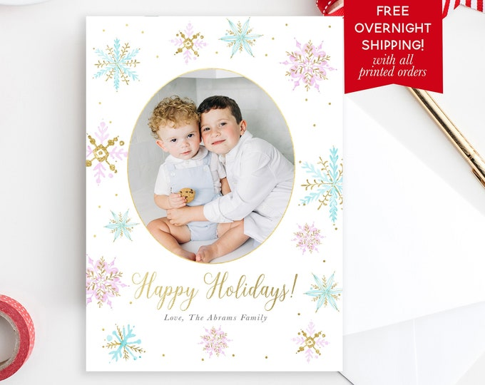 Pink and Blue Snowflake Holiday Photo Card, Pastel Christmas Photo Card, Watercolor Holiday Card, Picture Christmas Card