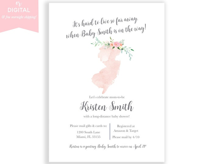 Long-Distance Baby Shower Invitation New Jersey, Travel Theme Invite, Long Distance Shower By Mail, Map Baby Shower, State Baby Shower