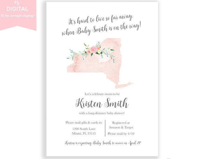 Long-Distance Baby Shower Invitation New York, Travel Theme Invite, Long Distance Shower By Mail, Map Baby Shower, State Baby Shower