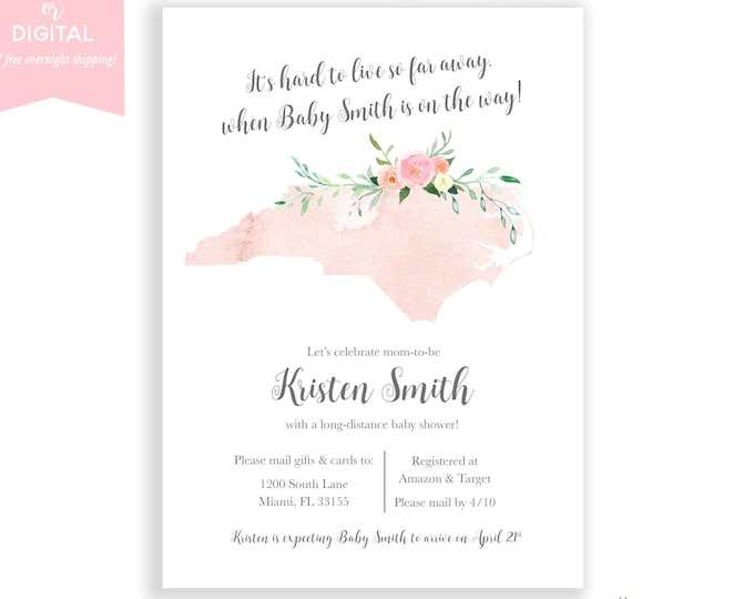 Long-Distance Baby Shower Invitation North Carolina, Travel Theme Invite, Long Distance Shower By Mail, Map Baby Shower, State Baby Shower