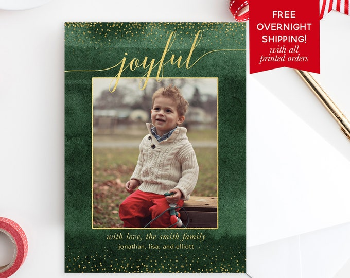 Green Watercolor Christmas Photo Card, Gold Confetti Christmas Photo Card, Joy Christmas Card, Holiday Photo Card, Christmas Picture Card