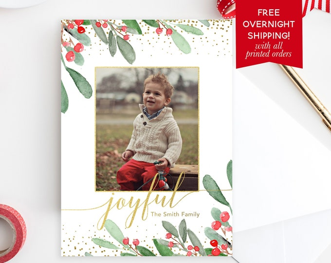 Joyful Christmas Photo Card, Floral Confetti Christmas Photo Card, Holly Christmas Card, Holiday Photo Card, Pine Christmas Picture Card