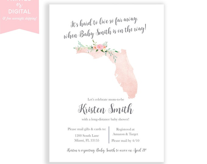 Long-Distance Baby Shower Invitation Florida, Travel Theme Invite, Long Distance Shower By Mail, Map Baby Shower Invite, State Baby Shower