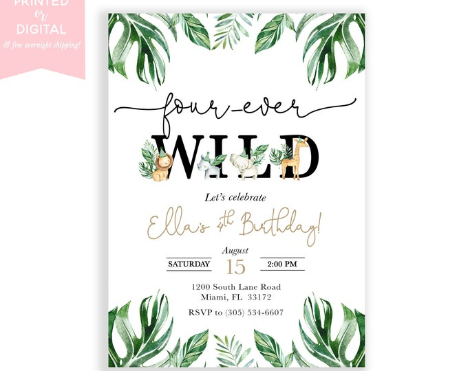 Fourever Wild Birthday Invitation Boy, Four-ever Wild, Safari Party Invite, Safari Animal, Jungle Birthday, 4th Birthday, Printed, Digital