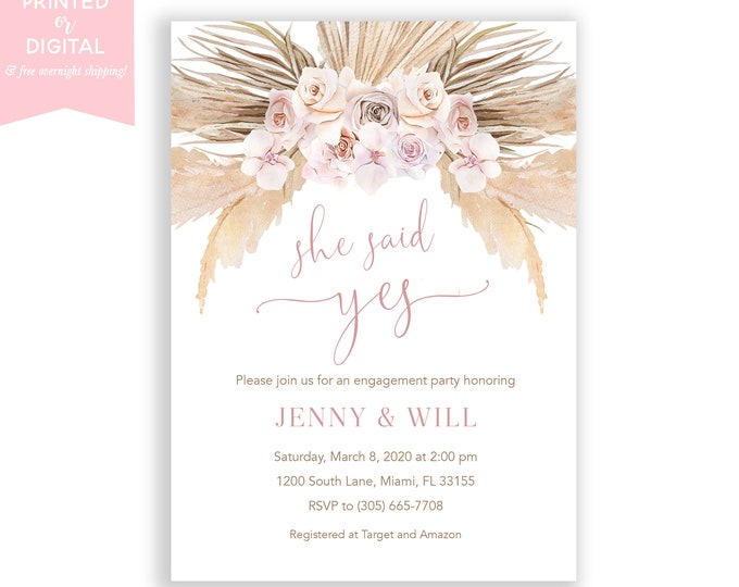 Boho Engagement Party Invitation, Pampas Grass Invite, Bohemian Invite, Orchid, Tropical Desert, Dusty Rose, Printed Invitations, Digital