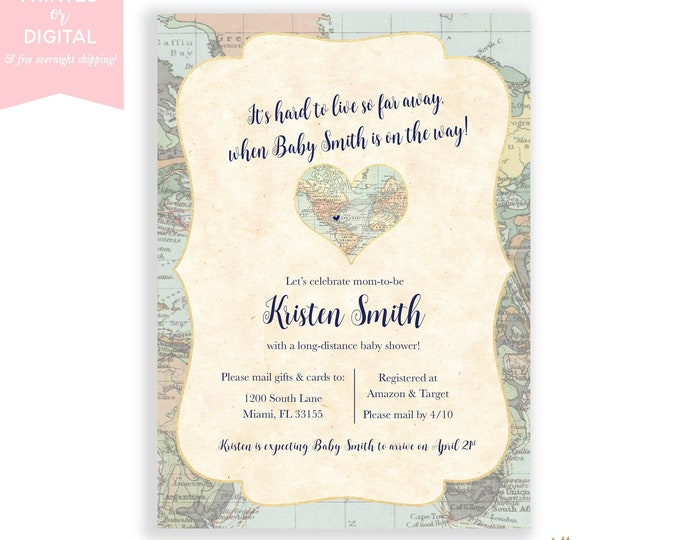 Long-Distance Baby Shower Invitation, Travel Theme Invite, Long Distance, Shower By Mail, Map Baby Shower Invite, Gender Neutral