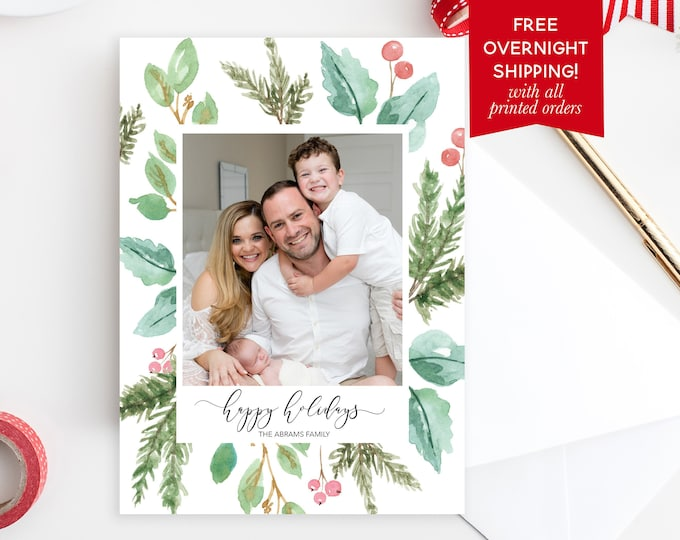 Christmas Photo Card, Floral Christmas Photo Card, Holly Christmas Card, Holiday Photo Card, Christmas Picture Card, Pine Christmas Card