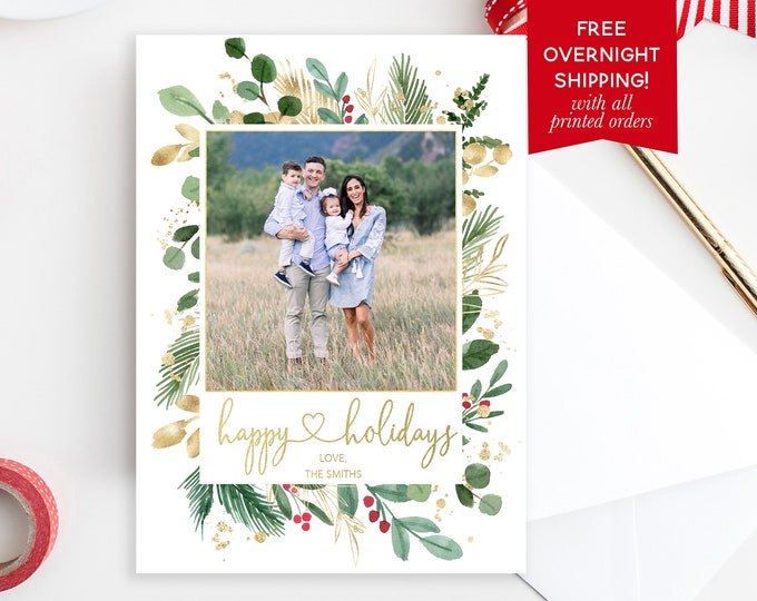 Leaves and Holly Christmas Photo Card, Greenery Floral Happy Holidays Photo Card, Botanical Modern Christmas Picture Card
