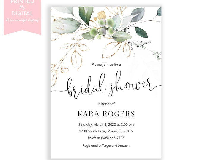 Eucalyptus Bridal Shower Invitation, Green Bridal Shower Invitation, Bridal Brunch, Watercolor Leaf Floral, Printed Invitations or Digital