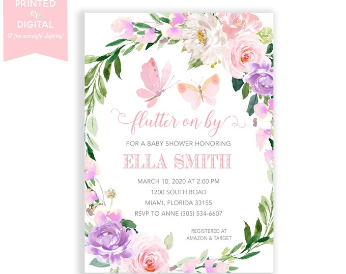 Butterfly Baby Shower Invitation, Garden Party Baby Shower, Tea Party, Pink Floral, Girl, Printed Invitations or Digital File