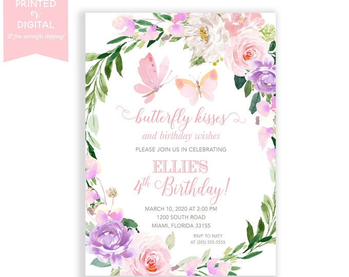 Butterfly Birthday Party Invitation, Butterfly Kisses and Birthday Wishes, Pink Floral, Girl, Printed Invitations or Digital File