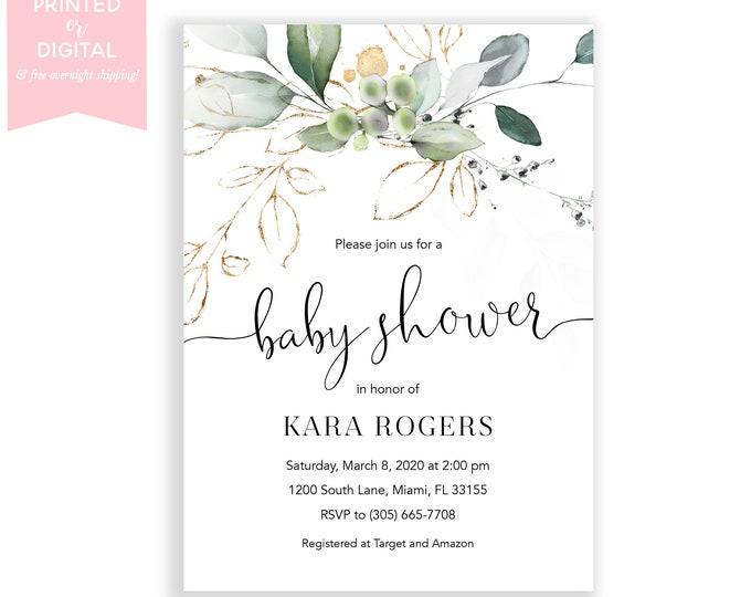 Eucalyptus Baby Shower Invitation Girl, Gender Neutral Baby Shower Invitation, Watercolor Leaf Floral, Printed Invitations or Digital
