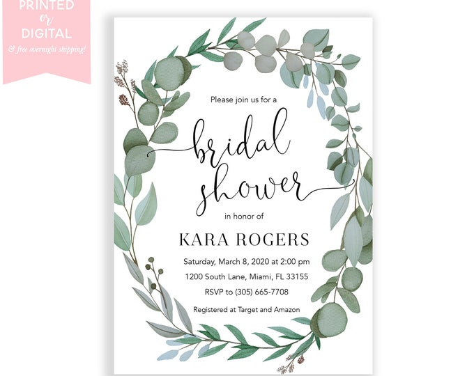 Eucalyptus Wreath Bridal Shower Invitation, Leaf Wreath, Bridal Brunch, Garden Bridal Shower Invite, Printed Invitations or Digital