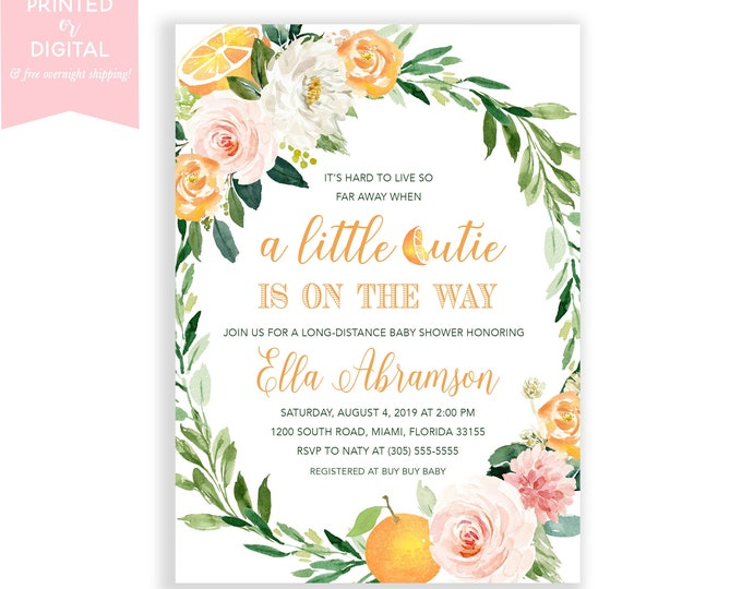 Long-Distance Baby Shower, Orange Invite, A Little Cutie is on the Way Floral, Citrus Baby Shower, Fruit Baby Shower Theme Invite