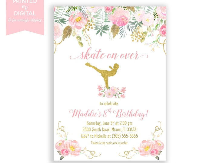 Ice Skating Invitation, Pink and Gold Girl Birthday, Ice Skate Invite, Skating Party, Pink Floral Birthday Invitations