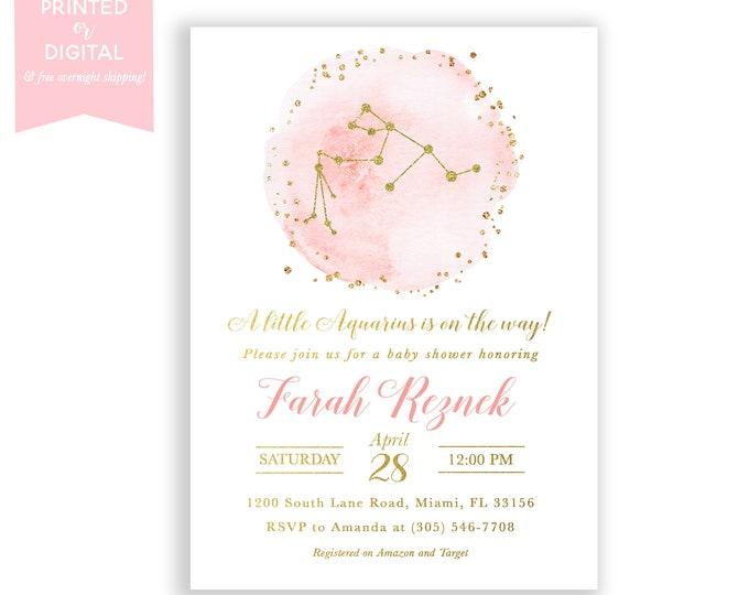 Zodiac Baby Shower Invitation Aquarius, Celestial Invite, Constellation, Pink Gold Girl, Moon and Stars Invitation, Printed or Digital File