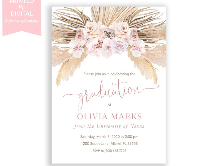 Boho Graduation Party Invitation, Pampas Grass Invite, Bohemian Invite, Orchid, Tropical Desert, Dusty Rose, Printed Invitations, Digital