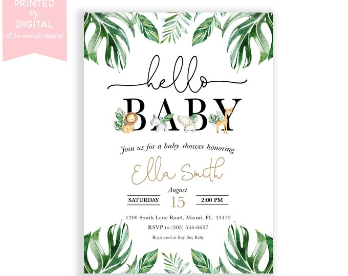 Safari Baby Shower Invitation, Jungle Animal Shower Invite, Hello Baby Gender Neutral, Leafy, Printed invitations, Digital File