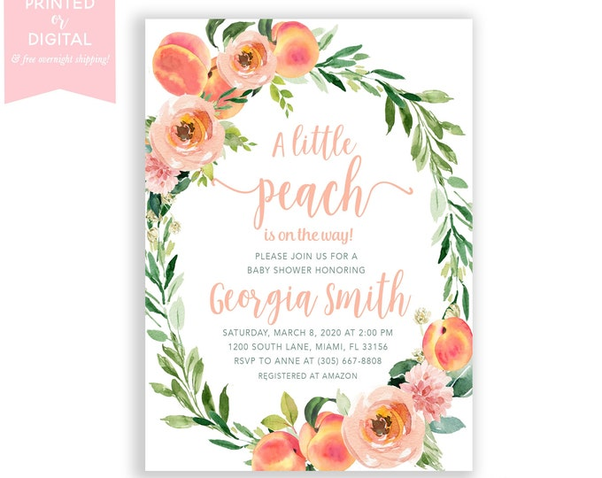 Sweet Peach Baby Shower Invitation, Little Peach Invite, Peach on the Way, Summer Fruit Baby Shower, Floral, Printed or Digital File