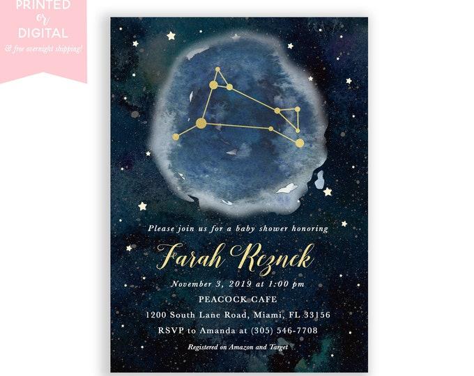 Zodiac Baby Shower Invitation Aries, Celestial Invite, Constellation, Gender Neutral, Moon and Stars Invitation, Printed or Digital File