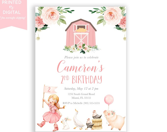 Farm Birthday Invitation, Girl, Pink Farm Invite, Cowgirl Invitation, Barnyard Birthday, Farm Animal, Printed Invitations, Digital File
