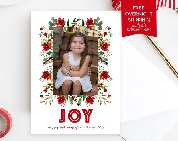 Floral Christmas Card, Christmas Photo Card, Red Christmas Card, Holiday Photo Card, Christmas Picture Card, Holly Christmas Card
