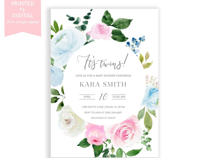 Boy Girl Twin Baby Shower Invitation, It's Twins, Blue and Pink Baby Shower Invite, Floral, Gender Neutral, Printed or Digital