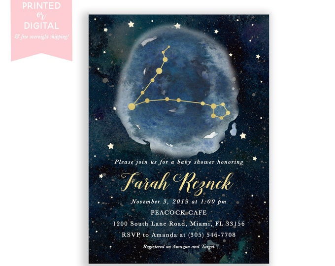 Zodiac Baby Shower Invitation Pisces, Celestial Invite, Constellation, Gender Neutral, Moon and Stars Invitation, Printed or Digital File